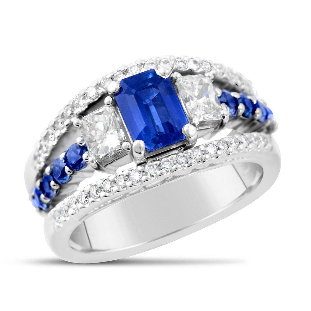 Emerald Cut Blue Sapphire And Diamond Ring