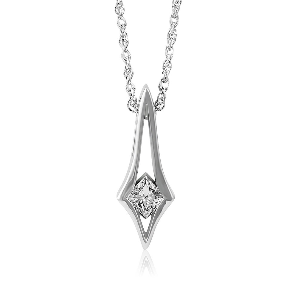 gold diamond solitaire with princess sku pendant jewelry cut white