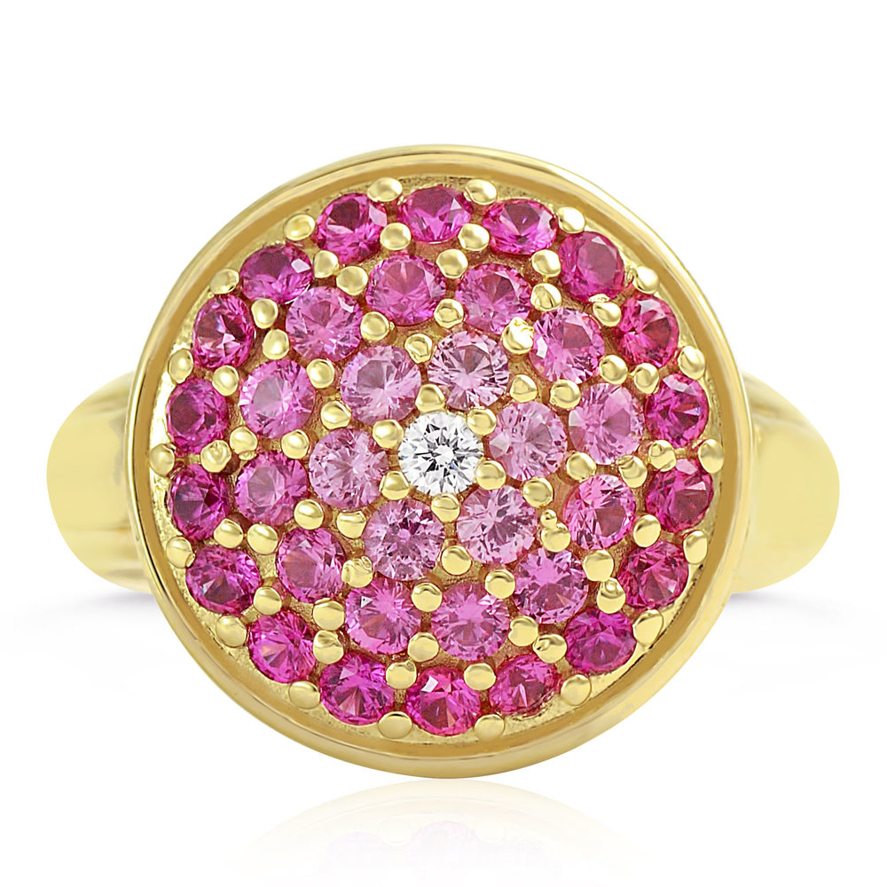 14k Yellow Gold Ombré Pink Sapphire Ring — Mark Michael Diamond Designs