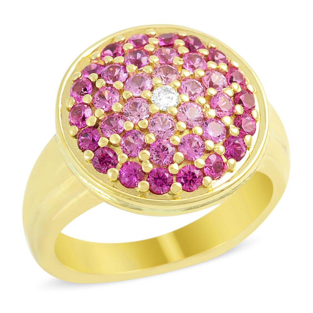 14k Yellow Gold Ombré Pink Sapphire Ring — Mark Michael Diamond Designs