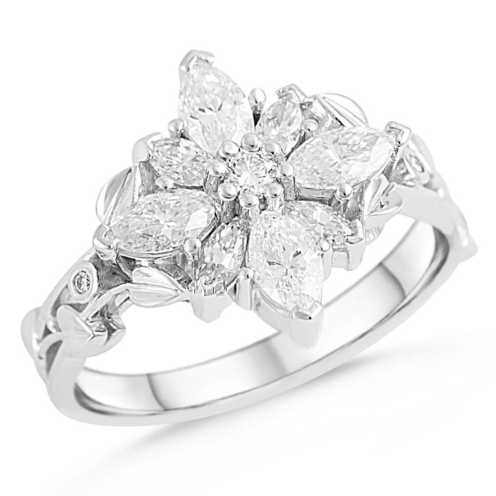 18k White Gold Diamond Flower Ring Mark Michael Diamond Designs