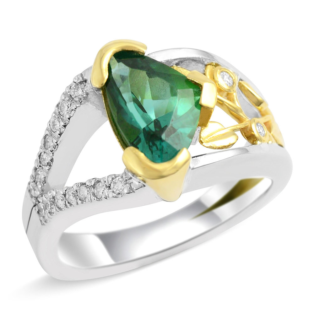 yellow gemstone engagement two vintage ring white products diamond green tourmaline rings tone gold