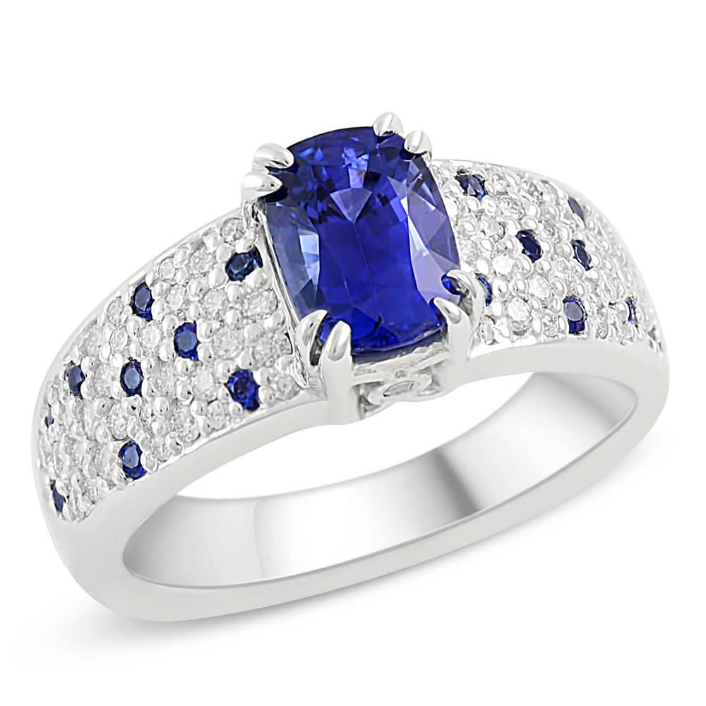 sapphires featuring band handcrafted cut shared cushion in prong sapphire a diamonds and pure platinum diamond dazzling setting