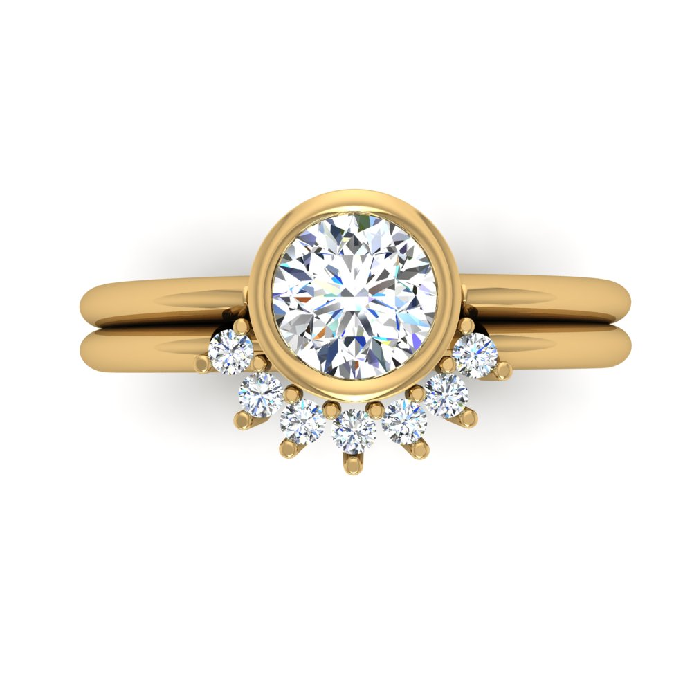 Bezel Set Engagment Ring Yellow Gold Half Halo Shadow Band.jpg
