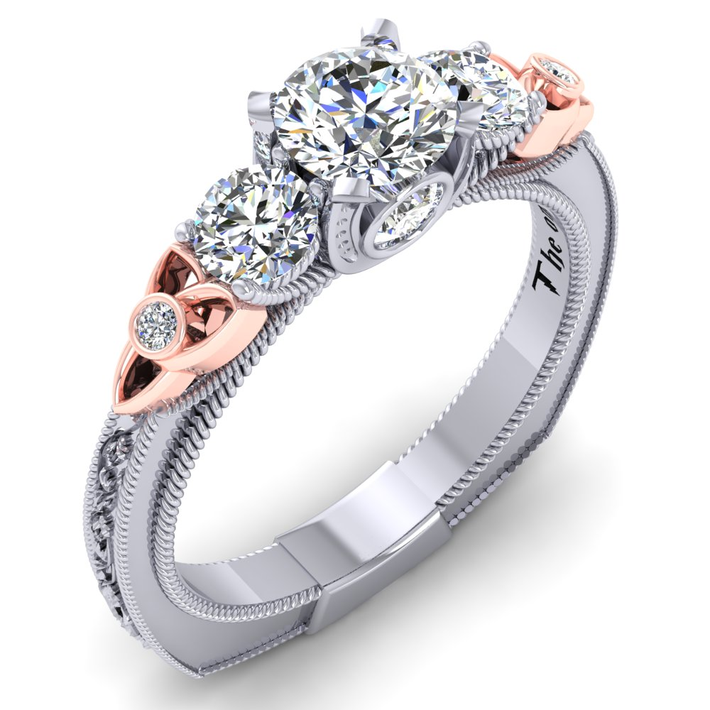 Horse Shoe Engagement Ring Filigree and Rope Detail Rose Gold Trinity Knot White Gold.jpg