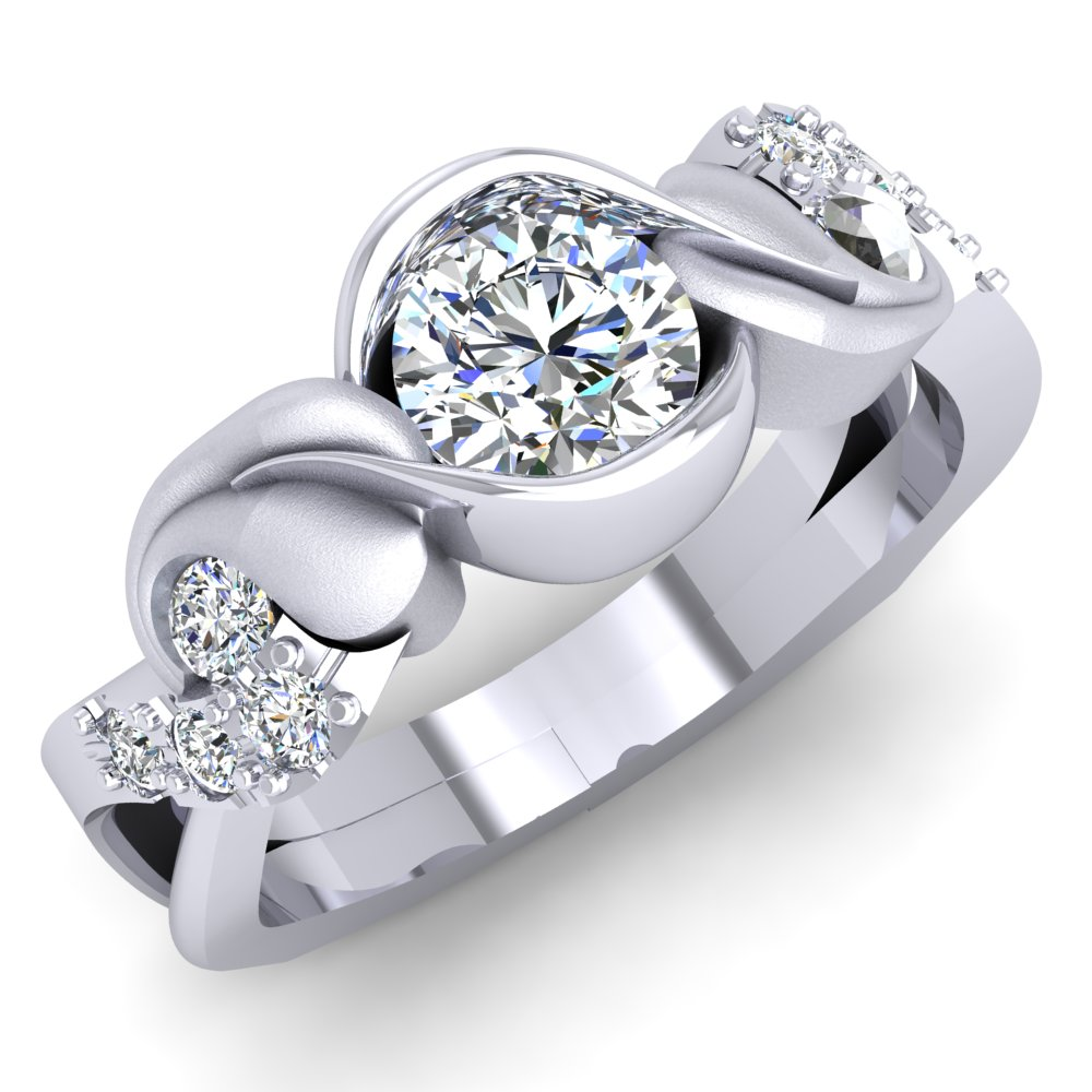 Modern Engagement Ring Leaf Round Brilliant Diamond White Gold.jpg