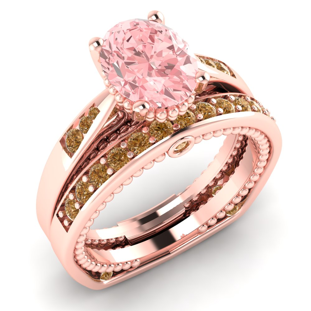 peach and pin vian chocolate diamonds le strawberry ring bands gold in morganite chocolatier vanilla diamond