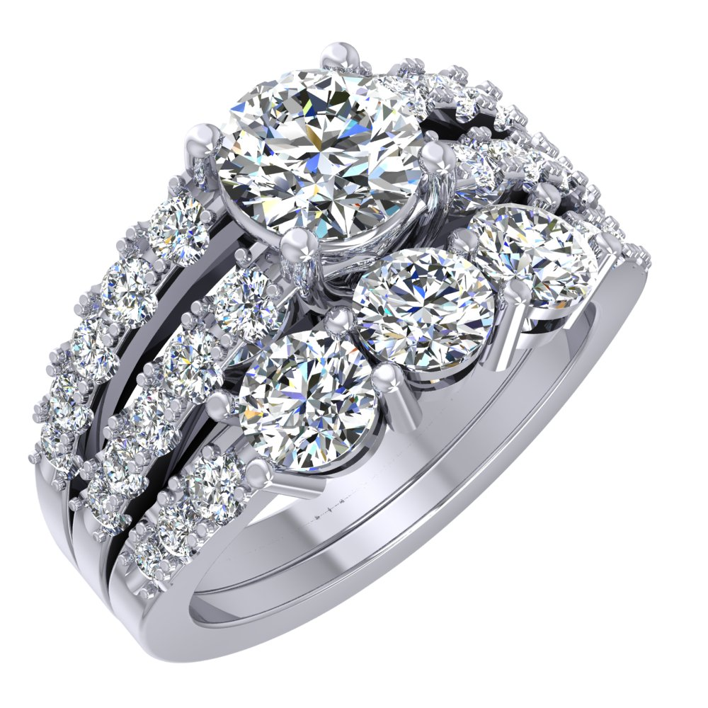 Pave White Gold Engagement Ring Three Diamond Wedding Band Split Shank.jpg
