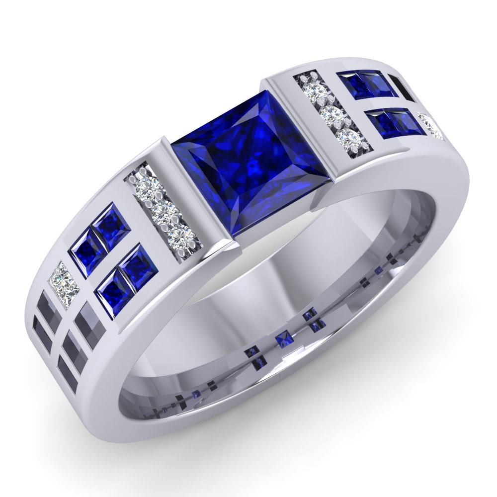 Tardis Engagment Ring Blue Sapphire and Diamond White Gold Modern.jpg