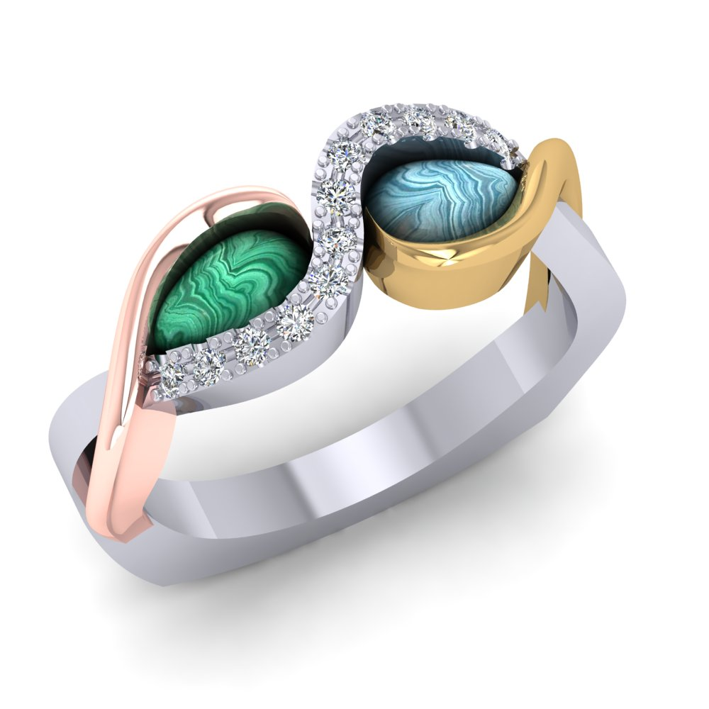 Tri-color Gold Rose White Yellow Larimar Greenstone Engagement Ring Pave Diamond.jpg