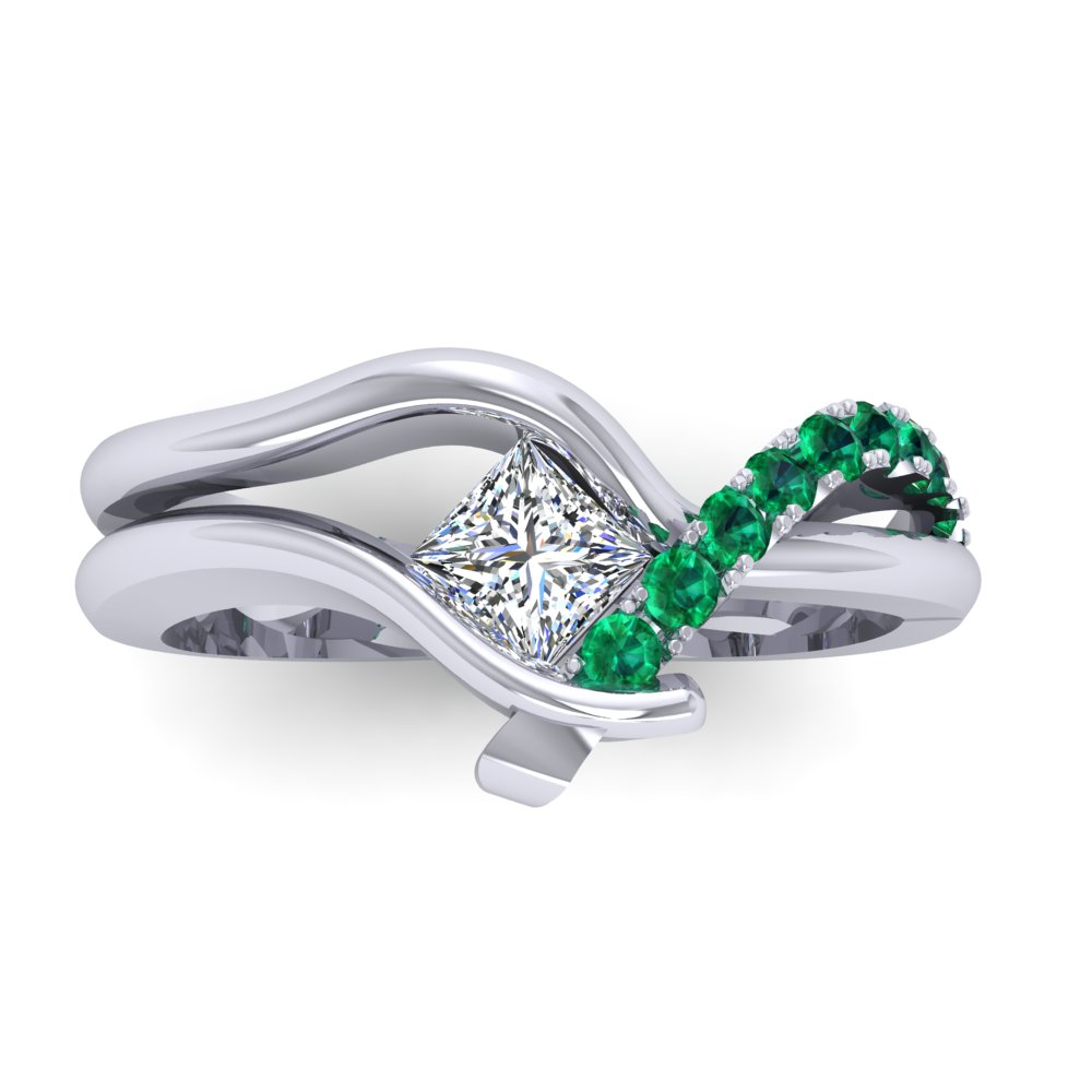 Unique Modern Princess Cut Engagement Ring Emerald Pave White Gold Freeform.jpg