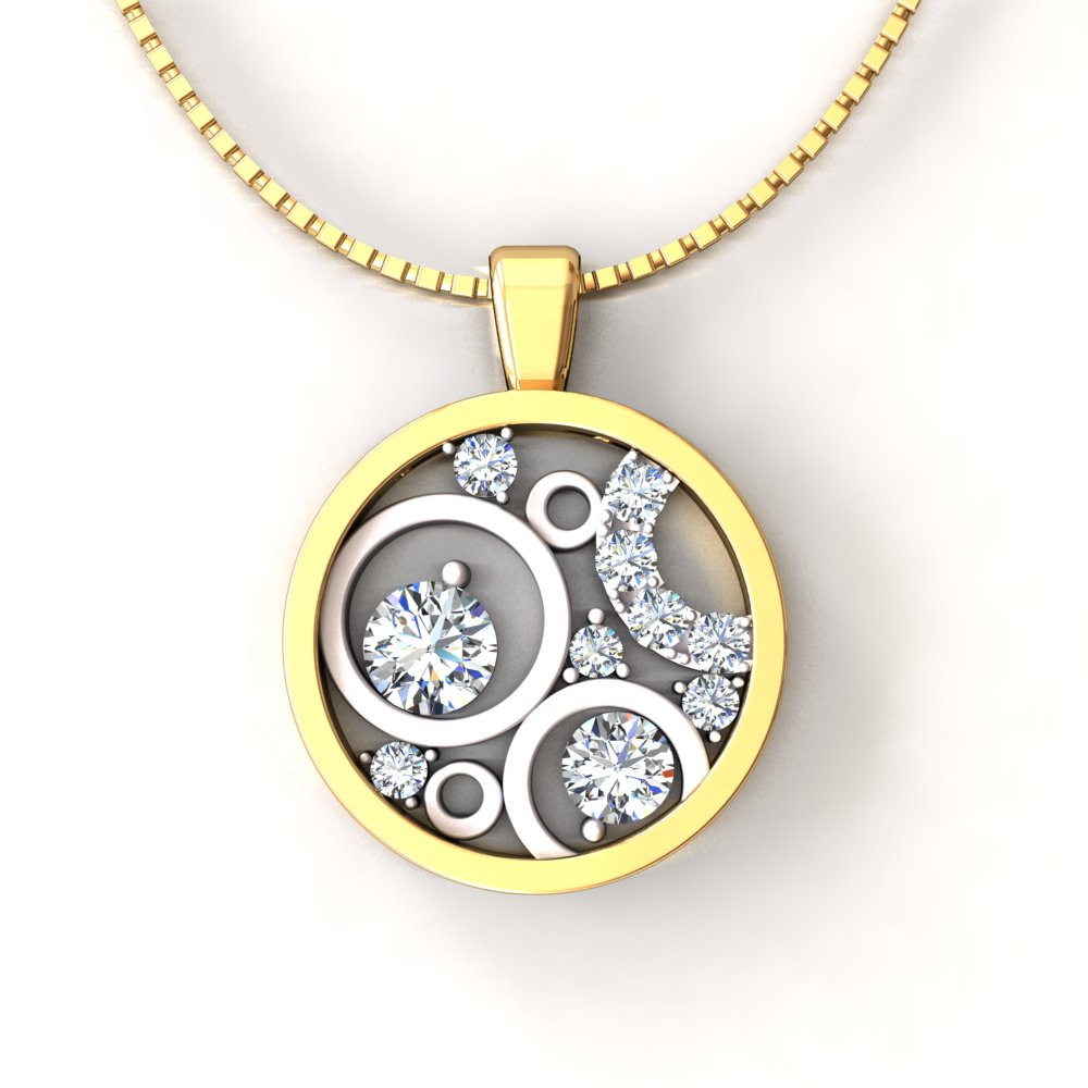 Circle Two Tone Pendant Diamond Pave Yellow and White.jpg