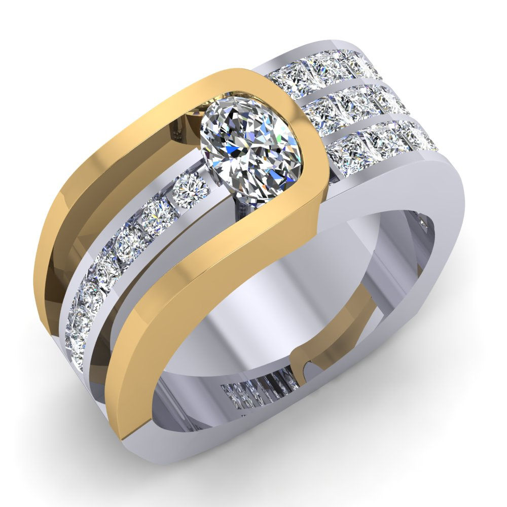 Bold Two Tone Modern Geometric Diamond Yellow and White Gold Oval Shaped Diamond.jpg