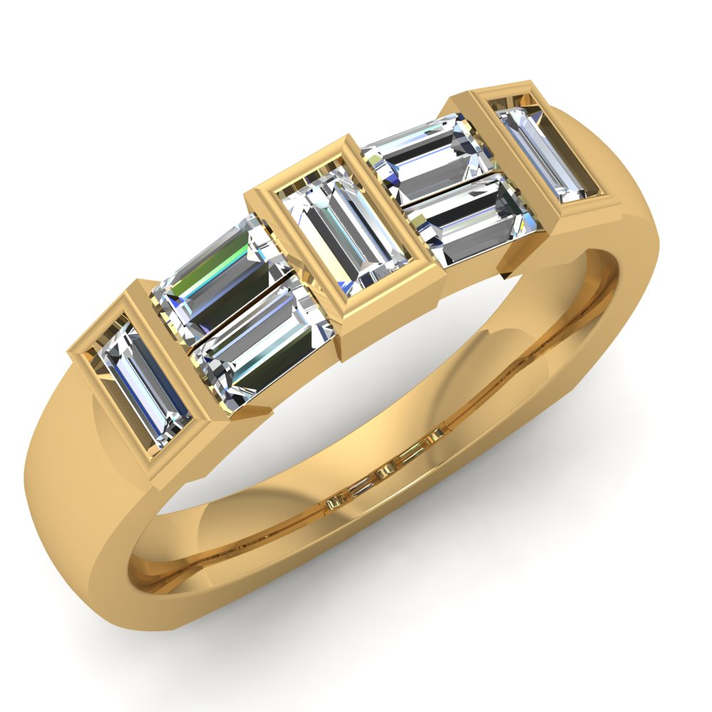 Yellow Gold Ring Baguette Diamonds Bezel Set Channel Set.jpg