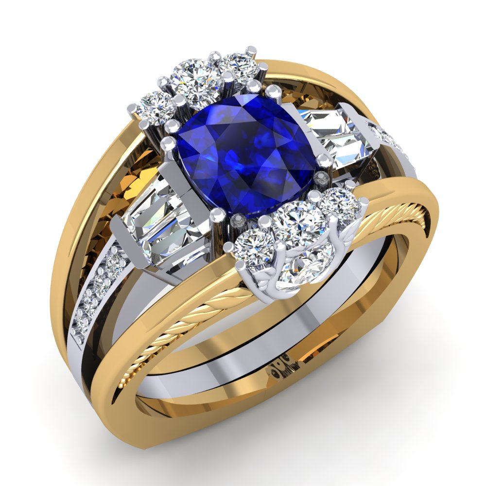 Two Tone Sapphire Ring Diamond Yellow Gold White Gold Leaf Detail Modern.jpg