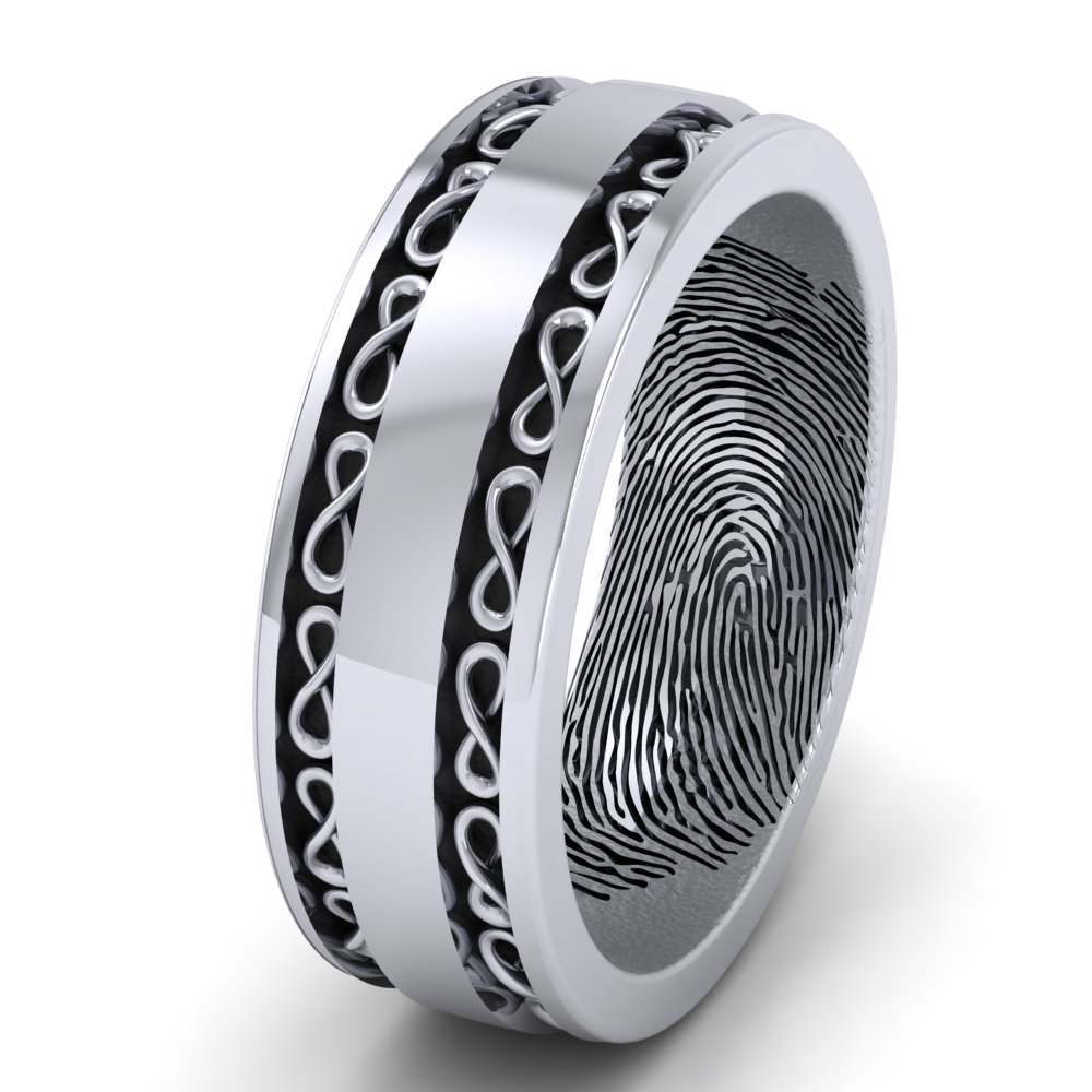 Men's Wedding Ring Infinity Symbol Fingerprint White Gold Black Accents.jpg