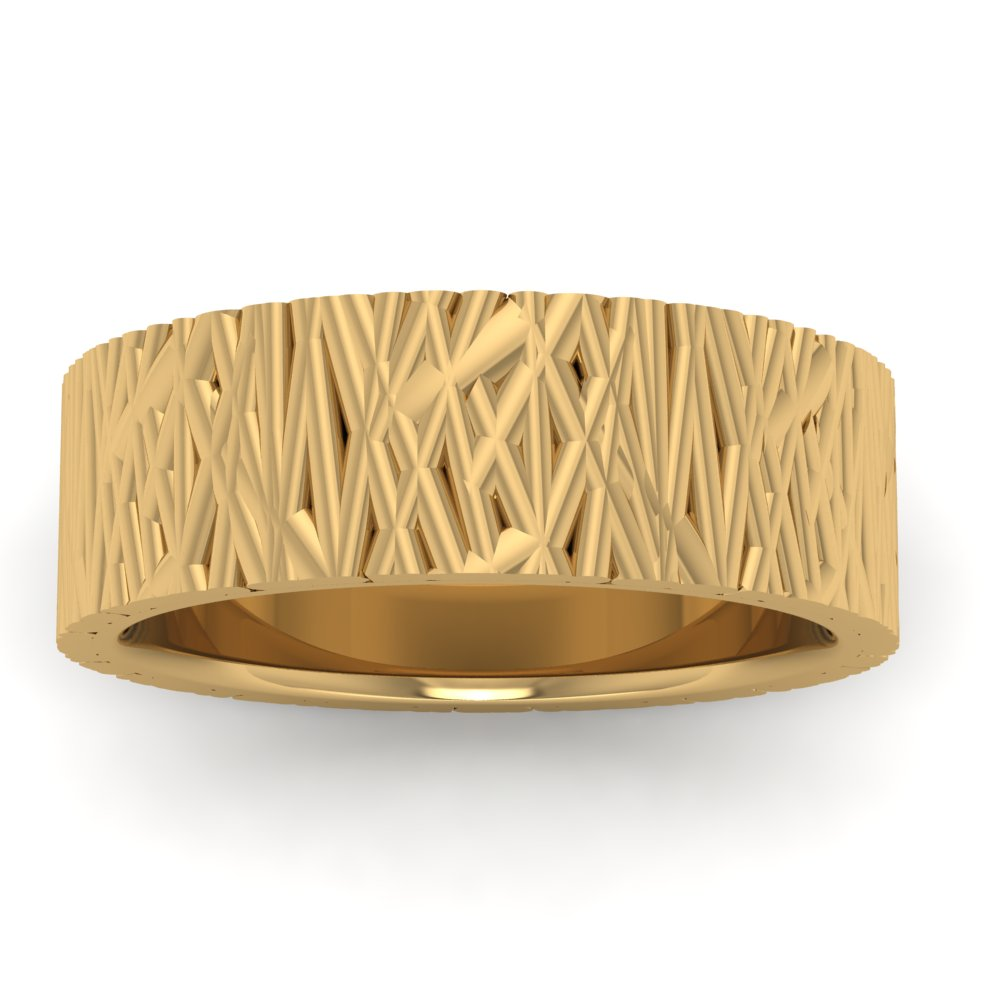 Mens Wedding Ring Yellow Gold Modern Bamboo.jpg