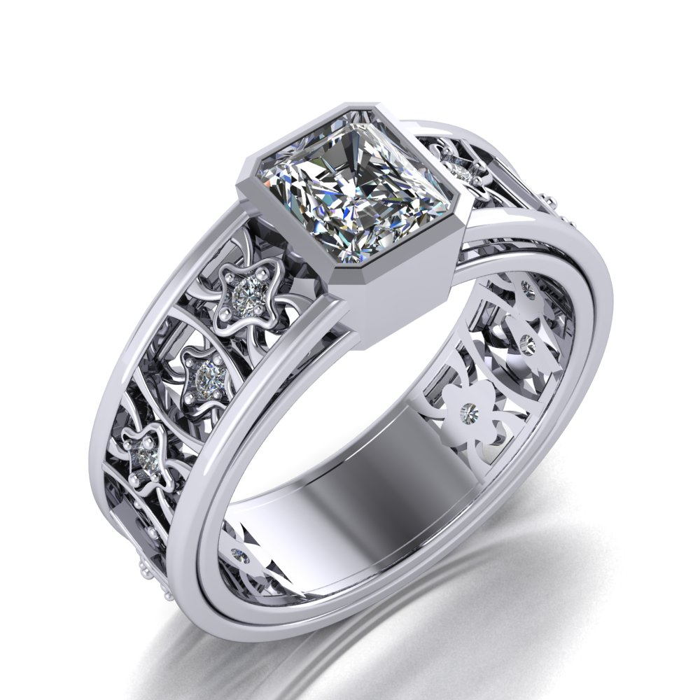 Bold and contemporary meet vintage in this wide emerald cut diamond ring.jpg