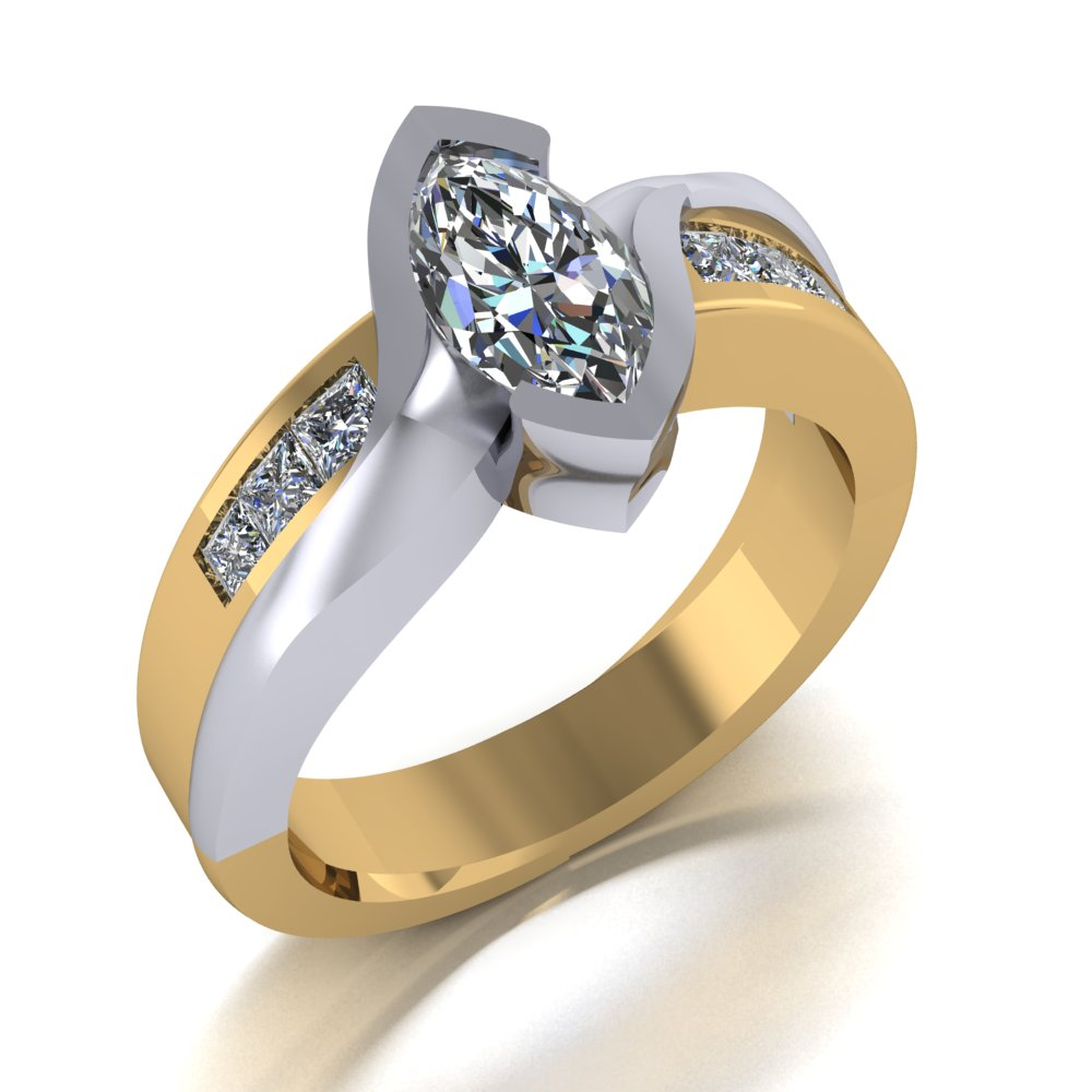 bold modern marquise center engagement ring two tone.jpg