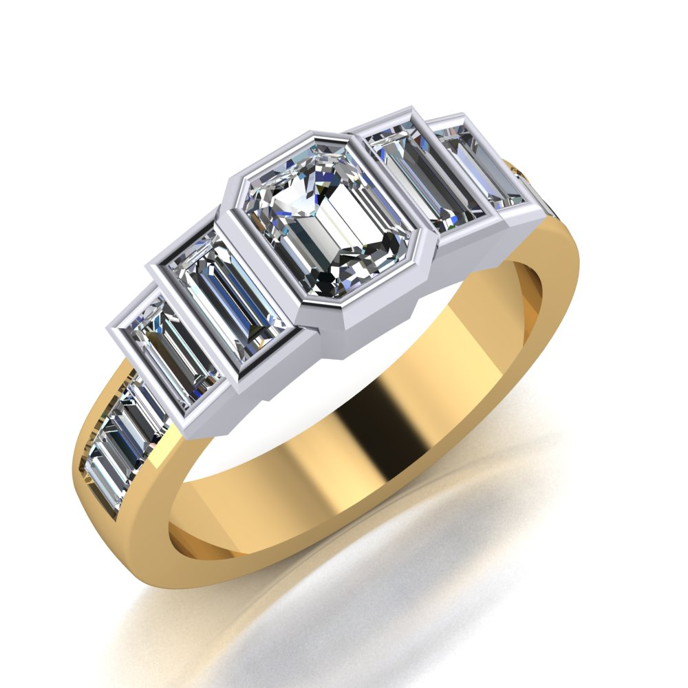 Classic but unique two tone yellow and white gold emerald cut diamond ring with baguette accents.jpg