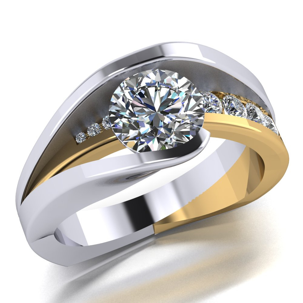 Modern and Unique diamond engagment ring with round brilliant cut center diamond created in white and yellow gold.jpg