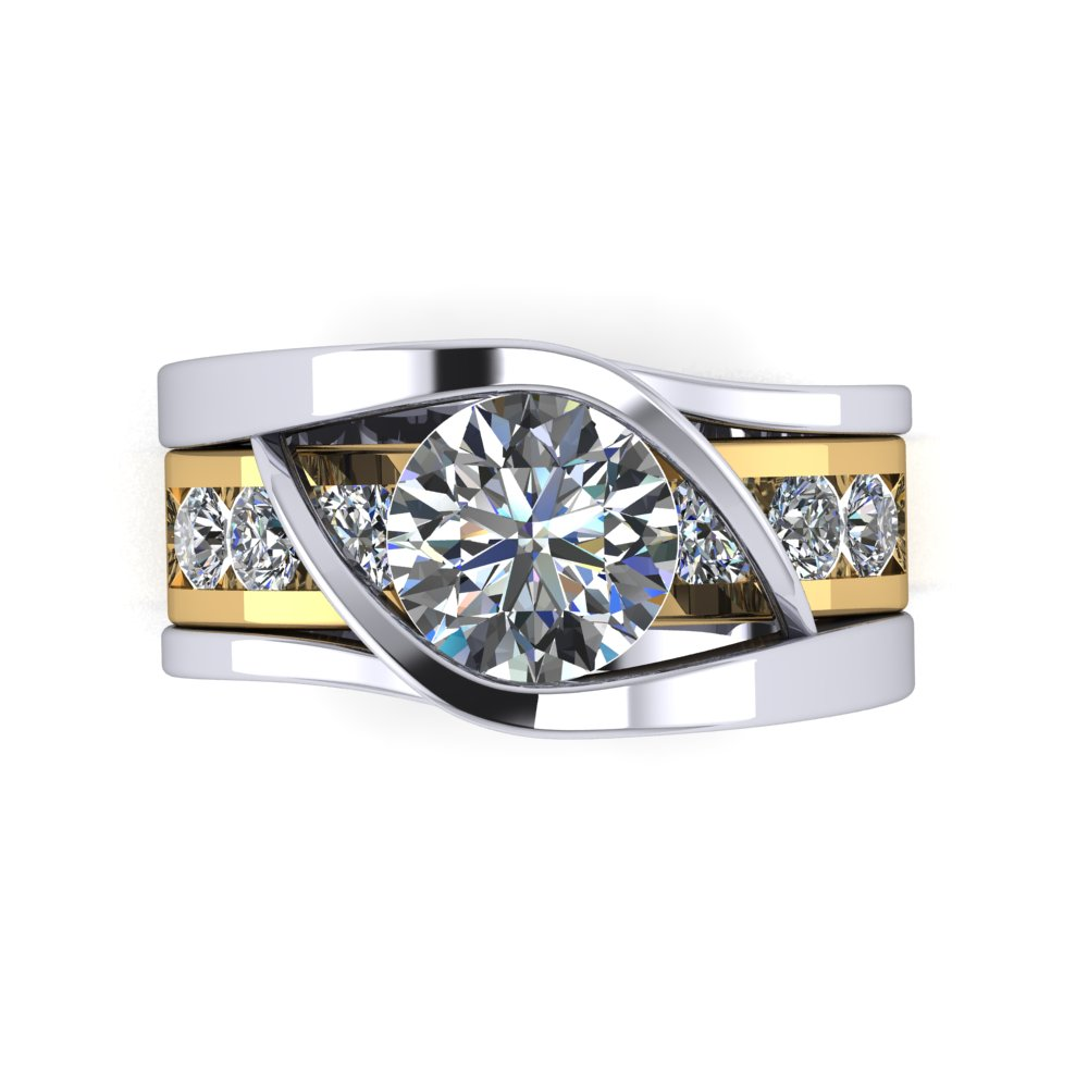 Modern diamond engagement ring with slide through wedding band.jpg