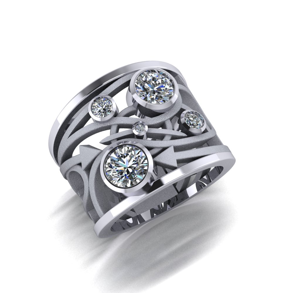 Completely Unique Space and Time ring made in white gold with diamonds.jpg