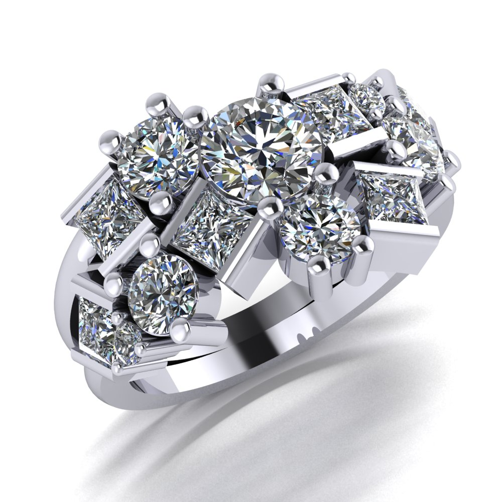 ladies unique diamond ring with princess and round diamonds in a scattered pattern.jpg