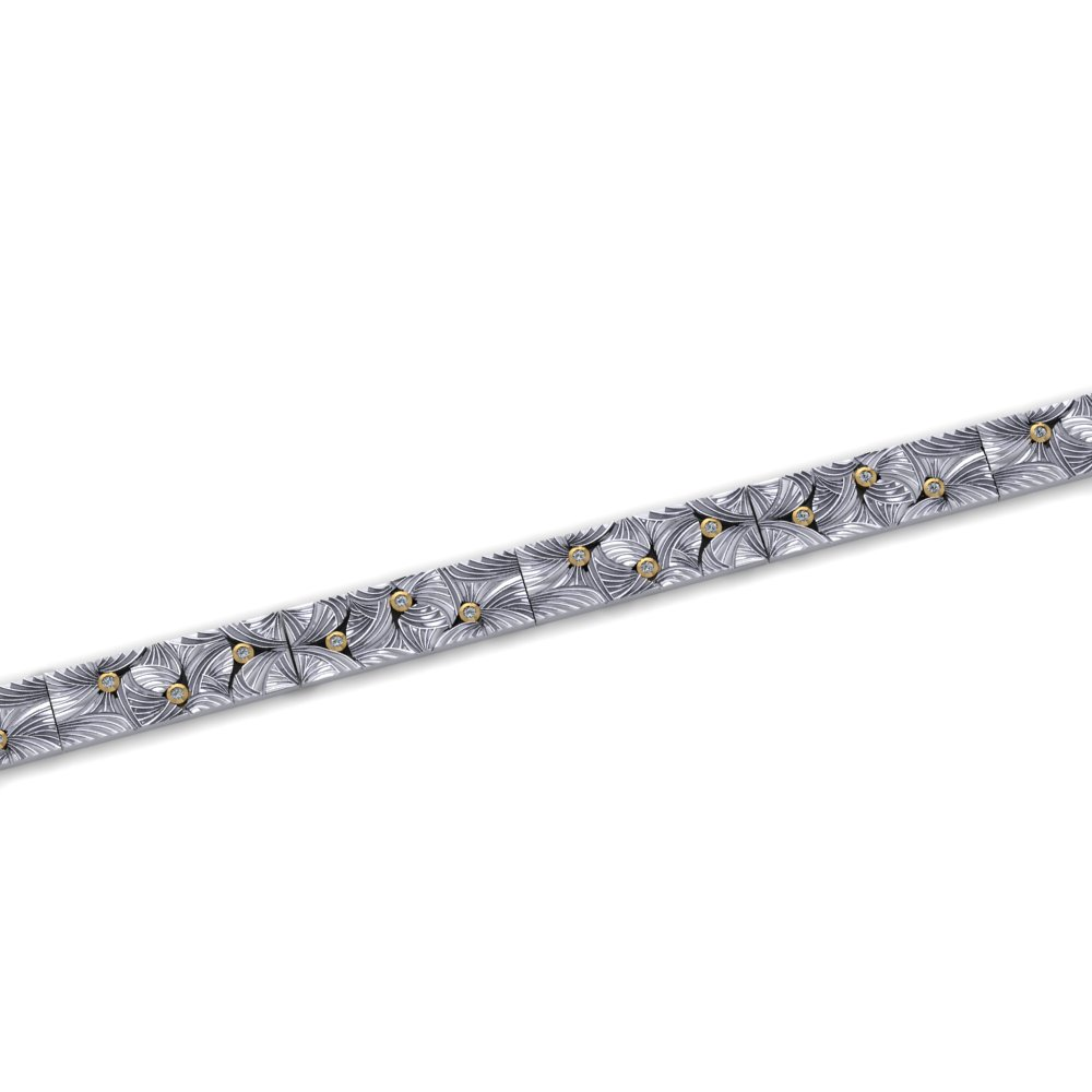 unique engraved pattern diamond link bracelet.jpg