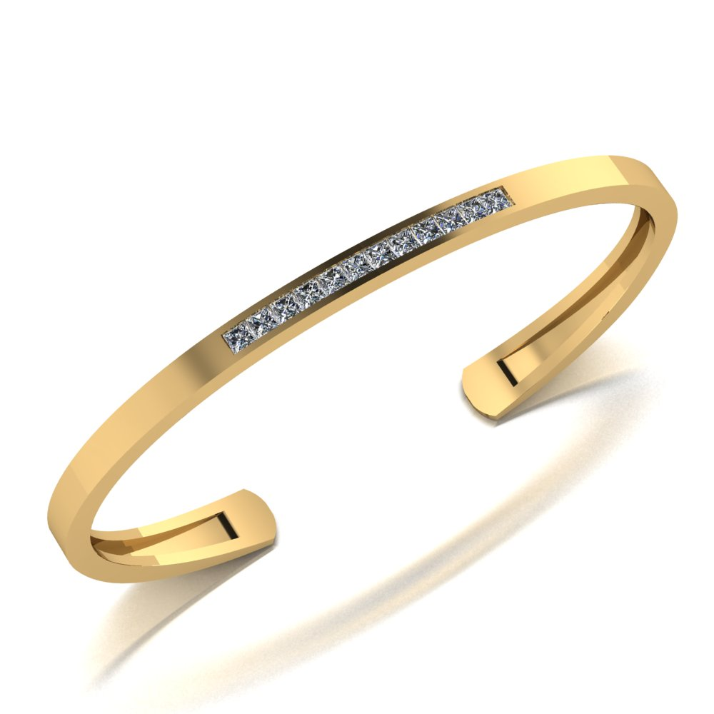 Yellow gold bangle bracelet with channel set princess cut diamonds.jpg
