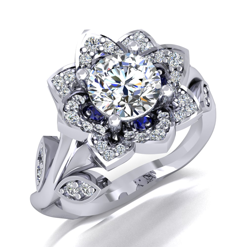 Flower Engagement Ring White Gold Vine Sapphire Accents Round Brilliant Cut.jpg