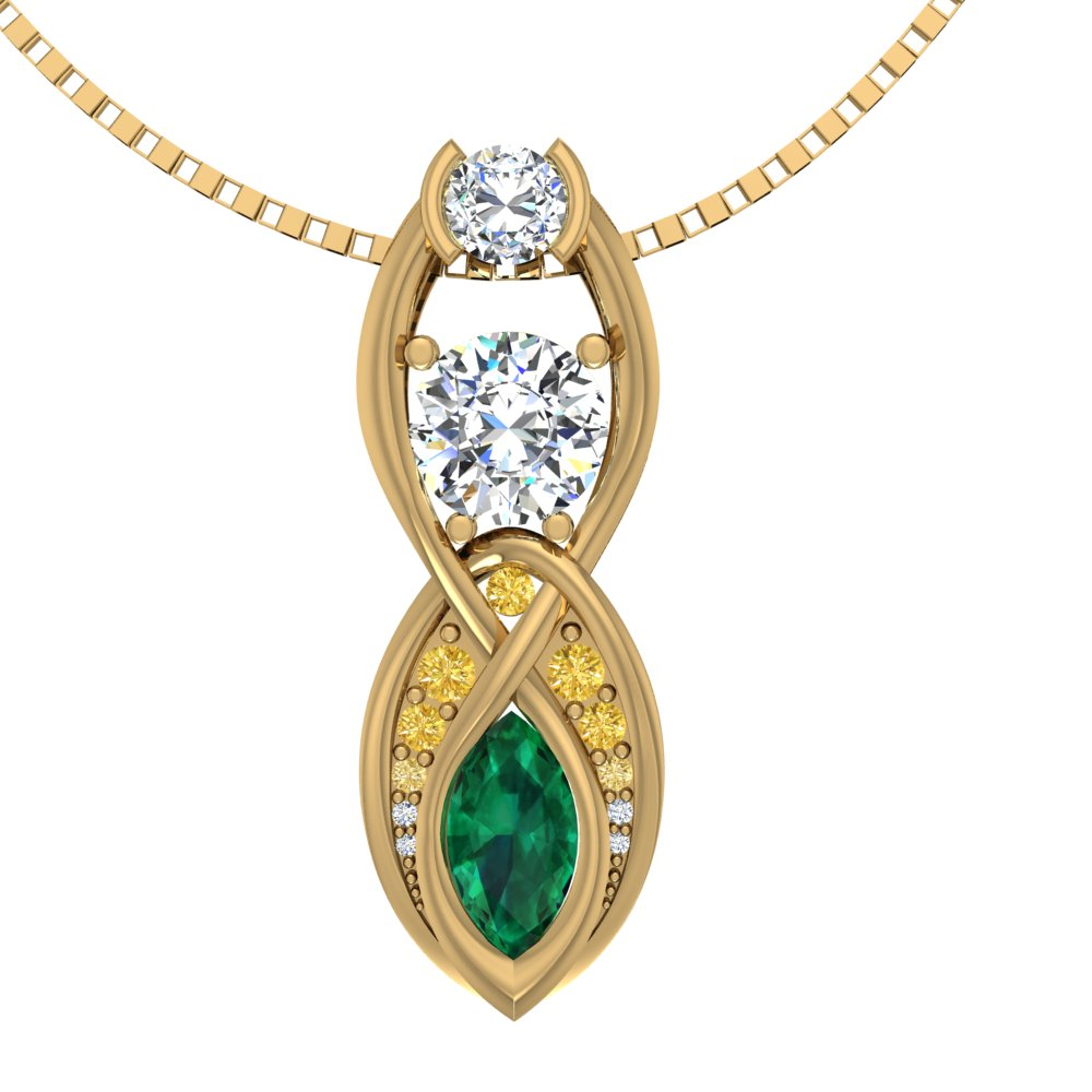 Yellow Gold Emerald Diamond Yellow Diamond Ombre Pendant Weave.jpg
