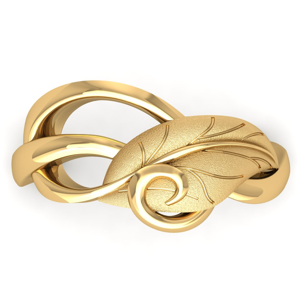 Leaf Vine Yellow Gold Matte Bright Polish Swirl Unique Modern NonTraditional Engagement Ring.jpg