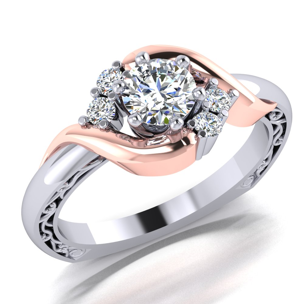 Rose Gold White Gold Engagement Ring Filigree Accents Round Brilliant Cut.jpg