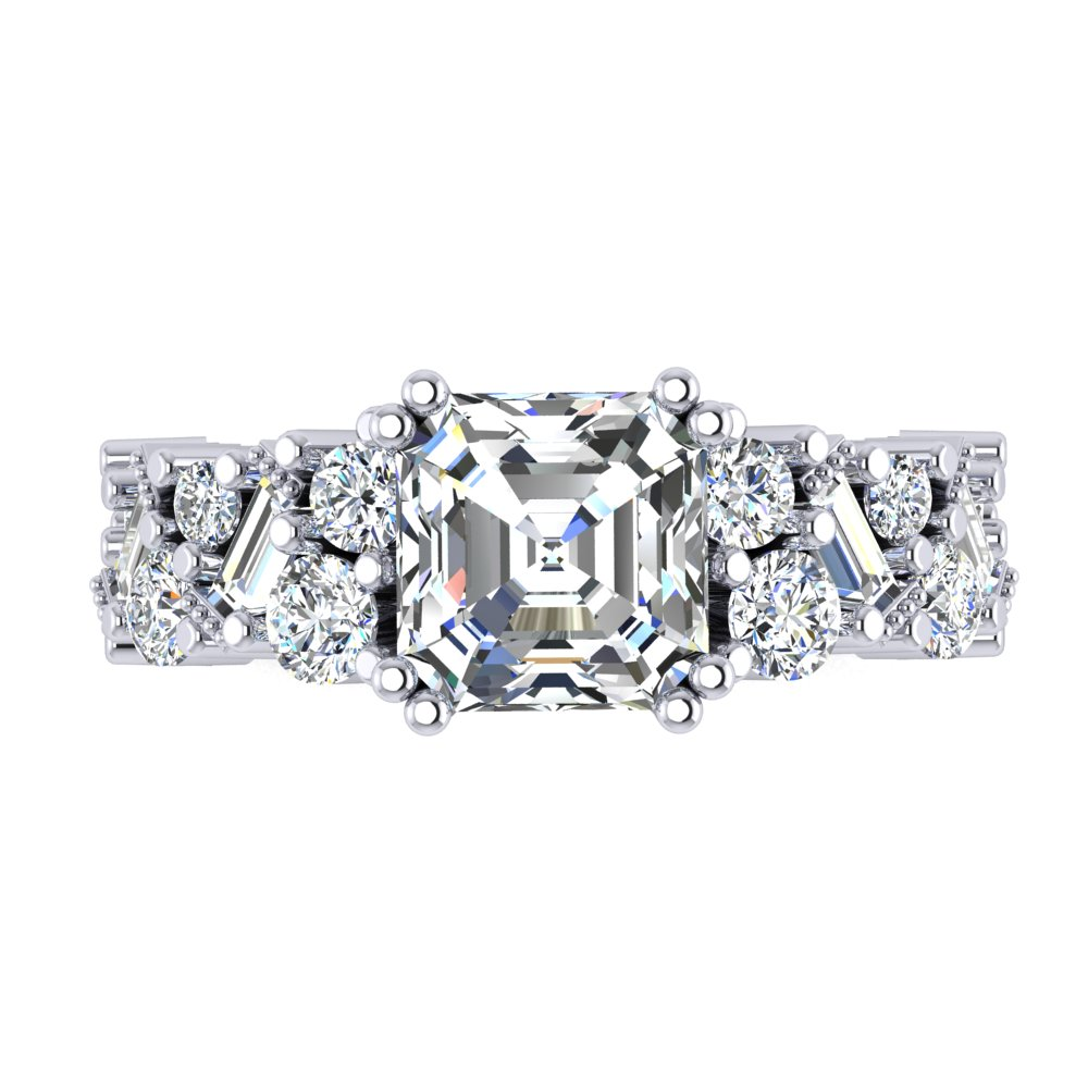 Asscher Engagement Ring Cluster Diamond Band Baguette Round Brilliant Cut Double Prong.jpg