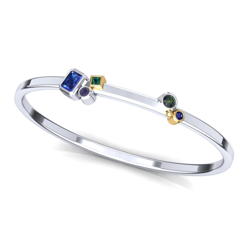Bangel Bracelet Montana Sapphire Two Tone White Gold Yellow Gold.jpg