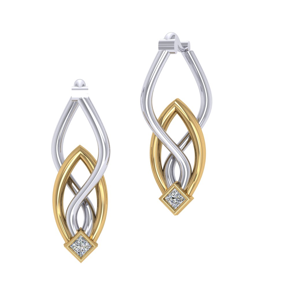 Two Tone White Yellow Gold Earrings Modern Hoops.jpg