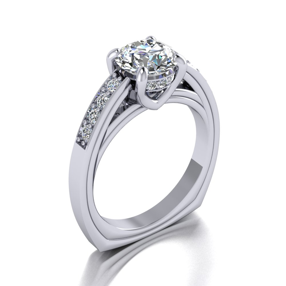 Contemporary diamond engagement ring single row pave set diamond sides.jpg