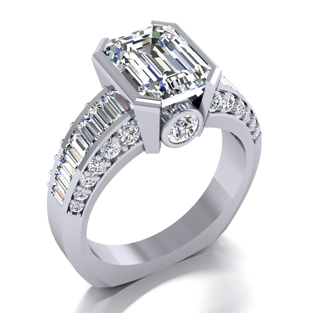 unique emerald cut engagement ring baguette and round side diamonds.jpg
