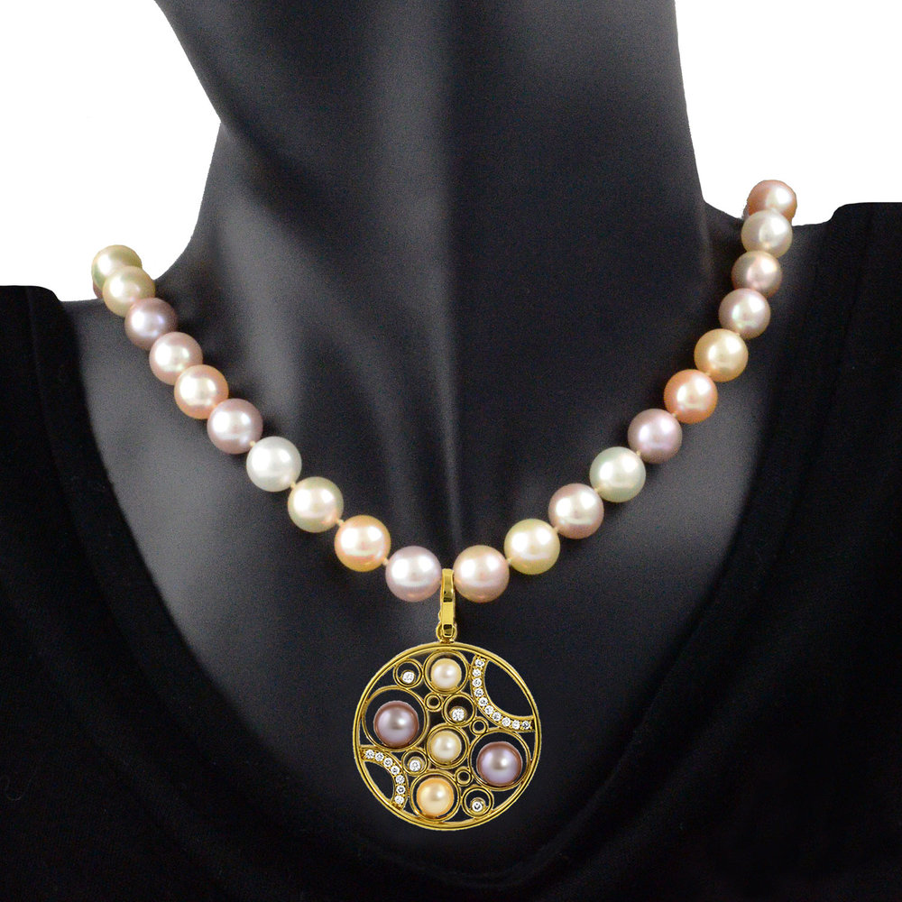 pendant pearl silver freshwater fashion pin cultured necklace natural round fittings