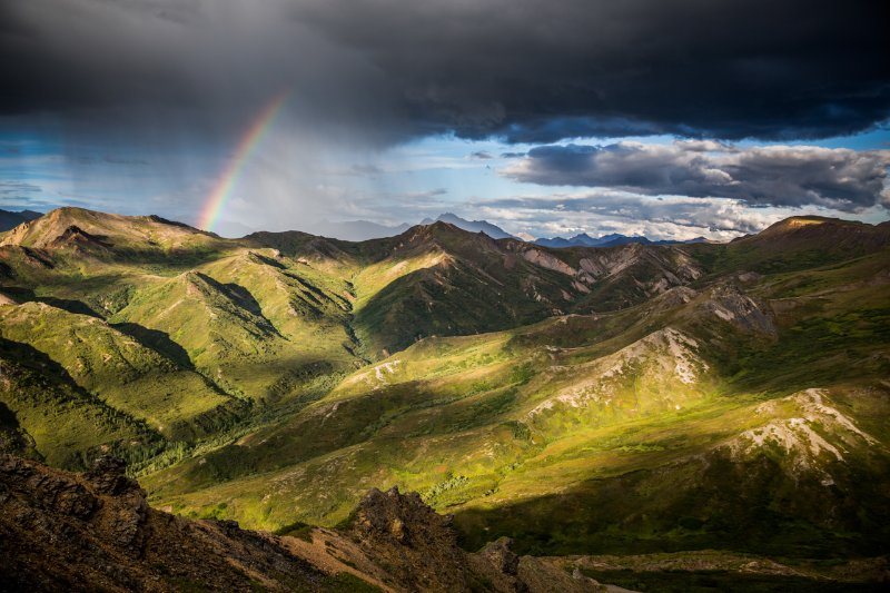 An important lesson about rainbows in Alaska; if you see one and you didn't just get drenched with rain, you're about to.