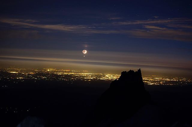 This hike made me realize I need a lighter tent. Who has a recommendation for a great backpacking tent? - Portland from Mt. Hood with the moon, Venus, and Illumination Rock making an appearance as well.