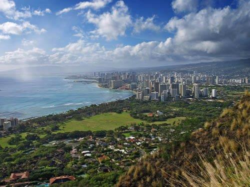 Vista from the top of Diamond Head Crater looking West