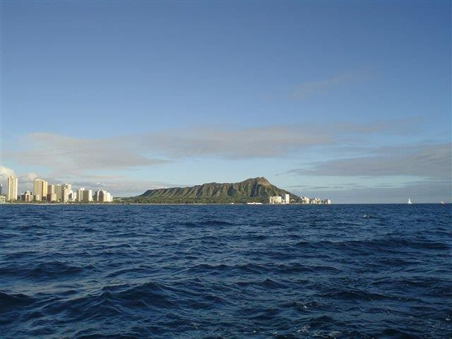 View of Diamond Head and Waikiki from the ocean.