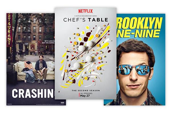 Shows - Chef's Table, NetflixCrashing, HBOBrooklyn 99, Fox