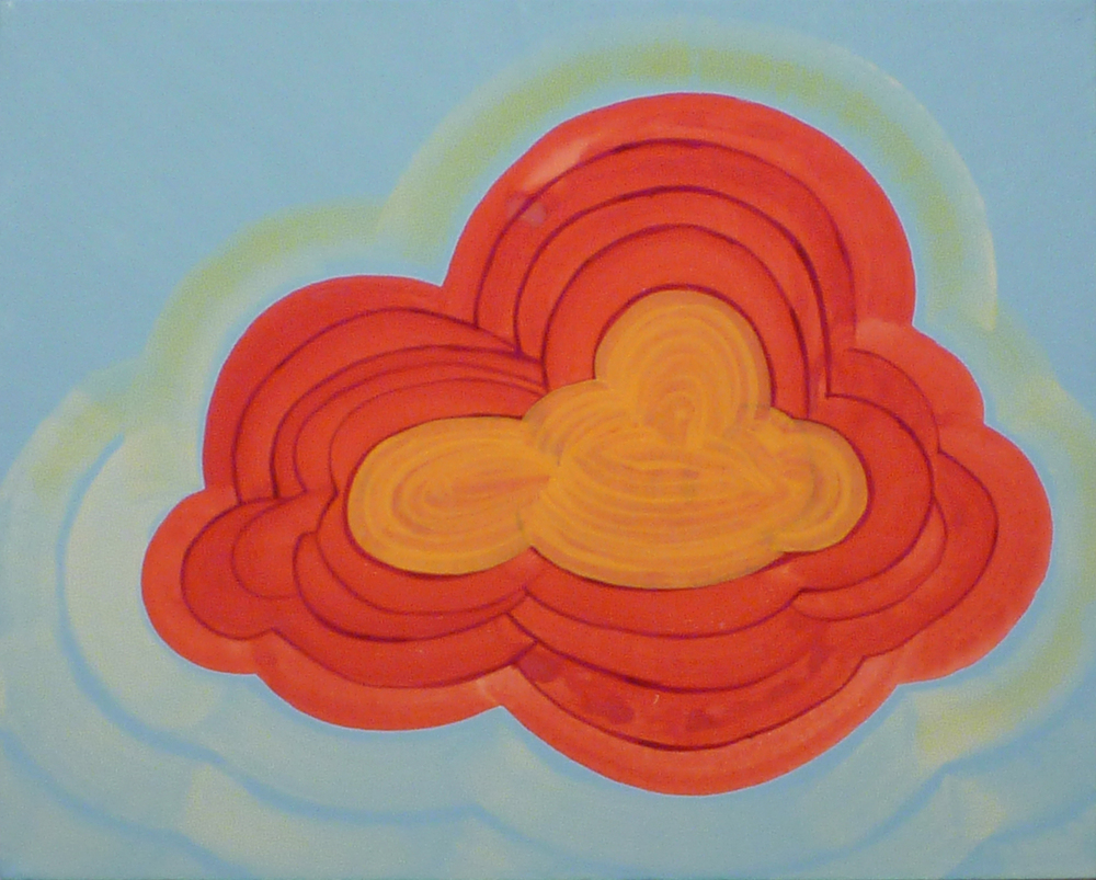 "Enlightenment, gouache and oil on canvas, 16"" X 20"",  2012."