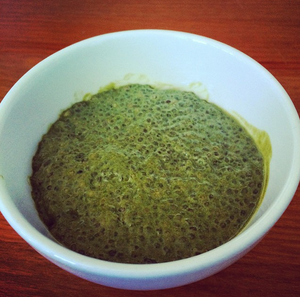Home made matcha chia pudding