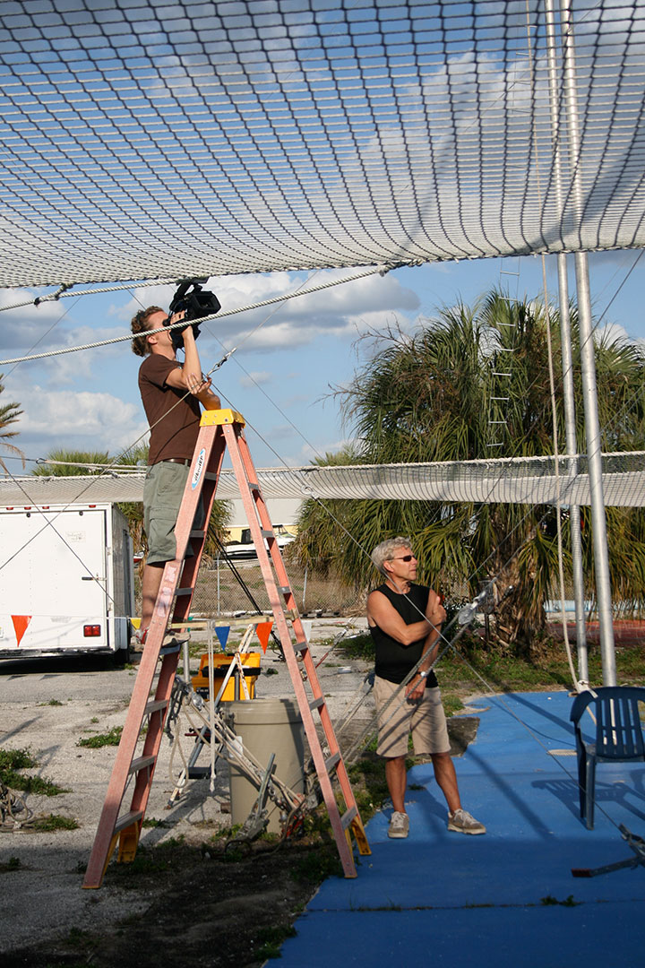 Filming under the net in Venice, FL