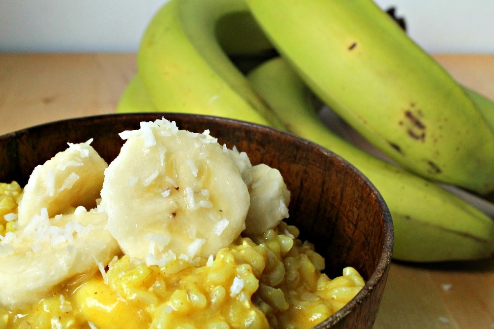 Ingredients:    1/3 Cup Coconut Milk    1/3 Cup Orange Juice    1/2 cup Cubed Pineapple     1/2 Banana, Sliced    1/8 Cup Slivered Almonds    1 Tblsp Honey    1 Cup Cooked Quinoa    1 Tblsp Shredded Coconut (optional)    Directions:    Pour coconut milk and orange juice in a small pan. Add banana, stir, cover and cook for 3 minutes over low heat. Add pineapple, almonds and quinoa. Stir, cover and cook over low heat for 5 minutes (or until warmed). Pour into bowl, stir in honey and sprinkle with shredded coconut.    Serves 1