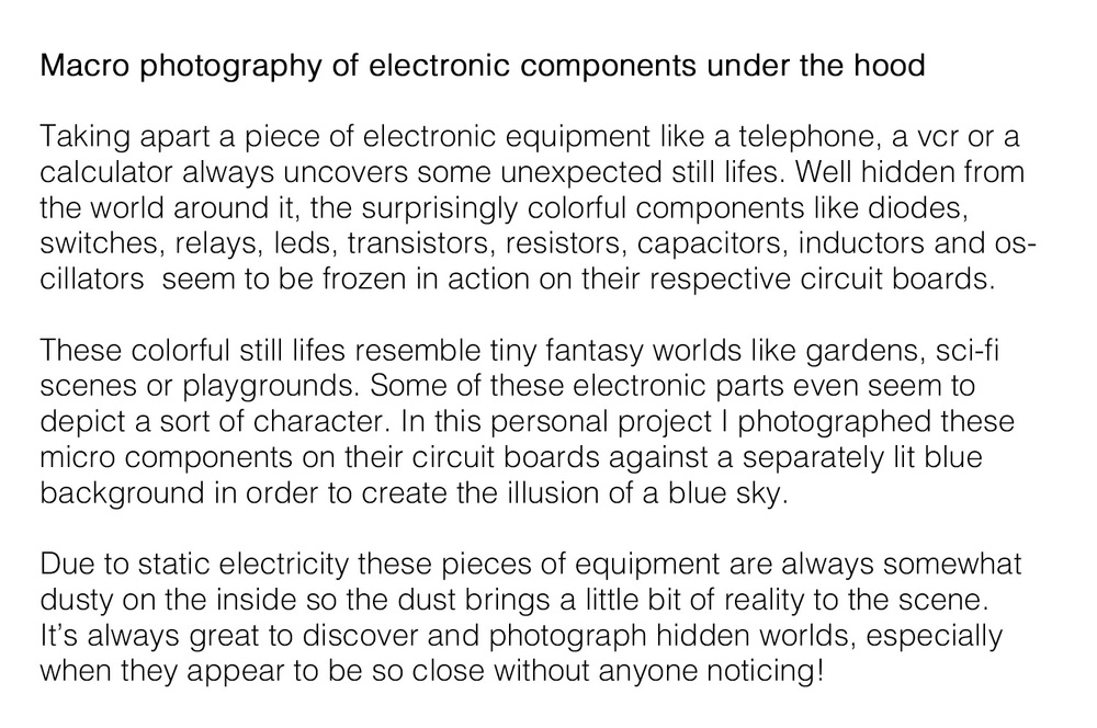 Macro photos of electronic components under the hood